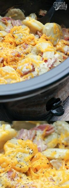This Slow Cooker Au Gratin Potatoes and Ham recipe from Favorite Family Recipes is comfort food at its best!