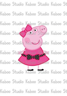 Instant Download - Clipart - Miss Peppa Pig - 2 COLORS RED and PINK
