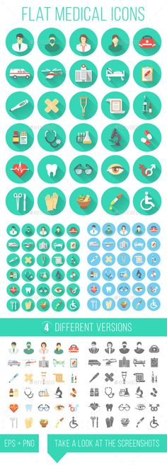 Flat Medical and Healthcare Icons — Vector EPS #vector #stethoscope • Available here → https://graphicriver.net/item/flat-medical-and-healthcare-icons/12123616?ref=pxcr