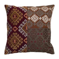 Cotton flax pillow with a suzani patchwork motif.   Product: PillowConstruction Material: Cotton flax cover and...
