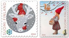 Christmas stamps 2016 – Finland  Finland post issued stamps featuring Christmas characters, a reindeer and an elf.  The theme of the Girl and squirrel stamp is the joy of sharing.