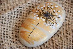 Hand Painted Stone Dandelion sea pebbles nature design | Etsy