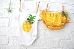 Pineapple Baby Bloomers and Onesie set by BubbyMakesThree on Etsy, $37.00