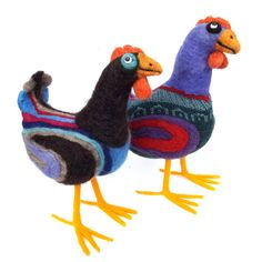 large needle felted wool chicken with recycled by lauraclyons, $170.00