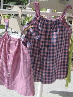 Two little girl sundresses made from men's shirts. $22 Both sold at The Villages Check out other items on my Daddy's Button Shirt Pinterest board