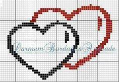 Due cuori Cross Stitch Music, Small Cross Stitch, Cross Stitch Heart, Wedding Cross Stitch Patterns, Cross Stitch Designs, C2c, Cross Stitching, Cross Stitch Embroidery, Graph Paper Art