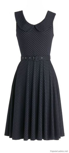Belted polka dot dress that fits the era the skirt looks like it falls below the knee Trendy Dresses, Cute Dresses, Short Dresses, Fashion Dresses, Skirt Fashion, Dots Fashion, Dress Outfits, Dot Dress, Dress Skirt