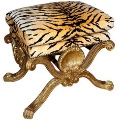 Gilt Wood  Leopard Upholstered Bench Stool | $3,900 at 1stdibs.com istdibs is wrong. This is the Tigre fabric from Scalamandre.