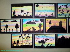 "These gorgeous ""Sunset Sillhouettes"" are the perfect art lesson for upper Elementary! Students get to use several mediums, and learn about blending. Full tutorial found at Teacherlifeblog.com"
