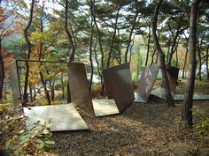 Paper Snake Anyang Public Art Project Anyang, South Korea Resting shelter 46 We were asked by the City of Anyang (a city in the periphery of Seoul) to design a resting space for their public art project: The site, a beautiful forest h Kengo Kuma, Cardboard Sculpture, Sculpture Art, Cardboard Paper, Landscape Architecture, Landscape Design, Pavilion Architecture, Sustainable Architecture, Sustainable Design