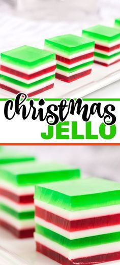 Christmas layered jello with red, white, and green layers. This finger jello is a hit at parties and kids love it! Plus we've perfected the chill time so this dessert is ready must faster than traditional layered jello recipes. New Year's Desserts, Jello Desserts, Jello Recipes, Cute Desserts, Christmas Desserts, Christmas Treats, Christmas Recipes, Jello Salads, Fruit Salads