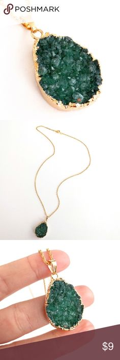 """Genuine druzy gold-plated pendant necklace Natural beauty meets a chic and modern design in this gold-plated stunner!  Genuine agate druzy crystals sparkle in rich green hues...an absolute must-see in person and in sunlight!  Nickel and lead free.  Chain measures about 21"""" long.  PRICE IS FIRM and extremely reasonable, but click """"add to bundle"""" to save 10% on your purchase of 2+ items! Jewelry Necklaces"""