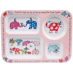 Les éléphants rient, pleurent, jouent et se câlinent grâce à leur trompe... Ce plateau repas à 4 compartimentstrès coloré et éducatif fera plaisir à vos enfants. Avec ses formes, il leur assurera des repas équilibrés et leur permettra d'apprendre des anecdotes sur les éléphants. Fabriqué en mélamine, ce plateau repas est résistant et lavable au lave-vaisselle. Dimensions : 30,5 x 23 cm