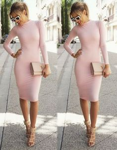Sexy Women Ladies Retro Long Sleeve Bodycon Party Evening Pencil Dress $5.99