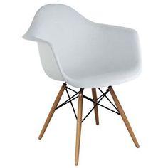 Cadeira Rivatti Eiffel com Braço e Base de Madeira - Branco - Cadeiras e Banquetas no Pontofrio.com