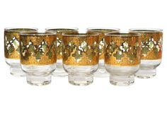 Culver Green & Gold Glasses, S/7