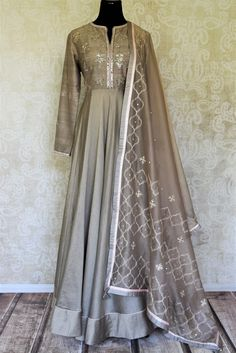 Gorgeous grey color embroidered floorlength silk Anarkali suit with dupatta for a captivating party look. Indian Bridal Fashion, Indian Fashion Dresses, Dress Indian Style, Indian Gowns, Indian Designer Outfits, Designer Dresses, Silk Anarkali Suits, Anarkali Dress, Lehenga