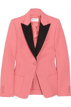 Admit Pucci is not a first thought for me about great blazers, but I love Tuxedo Jackets and this color is unusual and cool  Pucci pop of Pink!