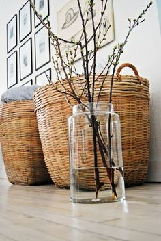 ♥ - on the hunt for some big baskets like these to put extra blankets/pillows in in the living room