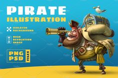 Raster illustration high quality --- Inside: - Image size 5000 x 5000 pixels - Isolated background - PSD file (layers) - PNG file Pirate Illustration, Graphic Illustration, Illustrations, Game Art, Pirates, Fantasy, Cartoon, Adventure, Creative