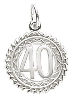 Rembrandt Charms Number 40 Charm, Sterling Silver. Hand Polished. High Polish Finish. Heavy-Duty Jump Ring. Lifetime Guarantee. Rhodium-Plated.