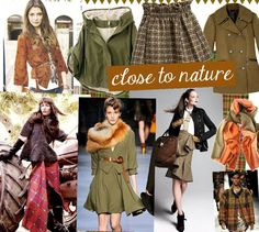 Fashion Trends Fall 2014 The close to earth trend is based in earthy colours. We are  going to see many plaids and tartans. The look is going to be a little bit masculine. Many military touches combined with leather, tweed and suede. This story refers to a girl who works and lives in the 50s and has a tomboy inside of her. She wants to be one of the boys without loosing her feminine side.