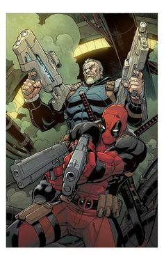 #Deadpool #Fan #Art. (Deadpool and Cable Split Second) By: ReillyBrown.  (THE * 5 * STÅR * ÅWARD * OF: * AW YEAH, IT'S MAJOR ÅWESOMENESS!!!™) [THANK U 4 PINNING!!!<·><]<©>ÅÅÅ+(OB4E)