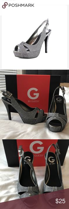 "G by GUESS Cathy3 Gray Stiletto Pumps. Size 6.5 G by GUESS Cathy3 Gray Stiletto Pumps. Size 6.5  Synthetic upper with metal details. Adjustable buckle closure at the ankle. Approximate 4.25"" stiletto heel and 1"" platform. Worn once to my sisters wedding. Heel is slightly dirty from being in the grass (see pictures). GREAT pre-owned condition. Please message me with any questions. See my closet for similar sizes and styles! G by Guess Shoes Heels"