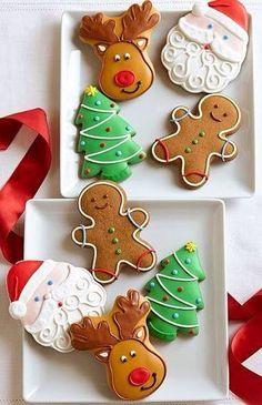 Christmas Cookies: Santa, reindeer, gingerbread man, and Christmas tree Christmas Biscuits, Christmas Sugar Cookies, Christmas Sweets, Christmas Cooking, Noel Christmas, Christmas Goodies, Holiday Cookies, Holiday Treats, Gingerbread Cookies