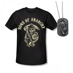 Sons of Anarchy Reaper T-Shirt and Dog Tag Set—I will own one of these one days.