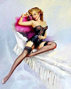 MAURO SCALI (American, Pin-Up in Black Lingerie Oil on canvas 30 x 24 in. Signed lower right - Available at 2012 June Illustration. Pin Up Girl Vintage, Retro Pin Up, Vintage Style, Vintage Ads, Vintage Decor, Pin Up Lingerie, Black Lingerie, Vintage Lingerie, Pin Up Girls