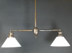 Reproduction - Brass Billiard Style Fixture with Cased Glass Shades 40 wide $950