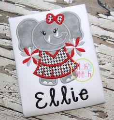 Elephant Cheer Applique $4 Alabama football cheerleader embroidery design
