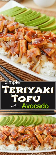 Simple Teriyaki Tofu with Avocado is a quick and easy dinner, or a filling lunch! A soft bed of organic white basmati rice is piled high with caramelized onions and oven baked tofu. It's then drizzled with a salty-sweet teriyaki sauce and topped with a bu