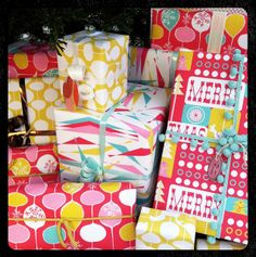 It's A Hang Tight Studio Happy Christmas! | Wrapping Paper designs by Heather Dutton @Spoonflower