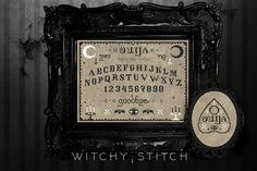 Ouija Board & Planchette bundle TWO Cross Stitch Patterns A cross stitch that is sure to raise spirits and eyebrows. Finished stitch area of the ouija board on 14 aida is 11.5 inches wide by 8.5 inches high, perfect for a 9 by 12 frame! Finished stitch area of the planchette on 14