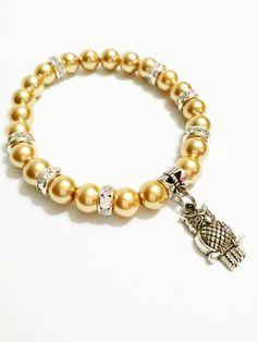Gold Pearl Owl Stretch Bracelet / Owl by VickysLittleSecrets
