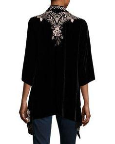 THRFV JWLA For Johnny Was Nova Floral-Embroidered Draped Velvet Cardigan, Plus Size