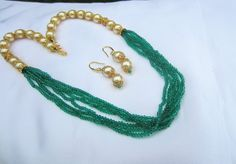 Multi Strand Peacock Green and Pearl Necklace Set With by Alankaar