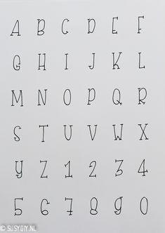 Fonts | Letters & Doodles - SUSY DIY Bullet Journal Calligraphy, Bullet Journal Alphabet, Bullet Journal Lettering Ideas, Journal Fonts, Bullet Journal Notebook, Bullet Journal School, Bullet Journal Ideas Pages, Handwriting Alphabet, Hand Lettering Alphabet