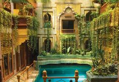 madgastronomer:jutsu-goddess:renamonkalou:The family home of architect Sami Angawi, Jeddah, Saudi Arabia.Holy shit….  Real life solarpunk.  I just read the links, and omg this is even better.So I looked at it and knew it was using the open courtyard and the pools and fountains to do a lot of the work of cooling the house, but it's also got drip irrigation for all of those plants (which adds more moisture to the air and also helps cool it in addition to being an effective and efficient way of…