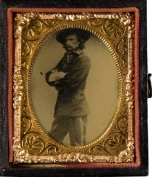 Cased Tintype of George Armstrong Custer. One of a series of images taken May 23,1865 at the Mathew Brady Washington, D.C. Studio while Custer was in town to participate in the Grand Review of the Armies.