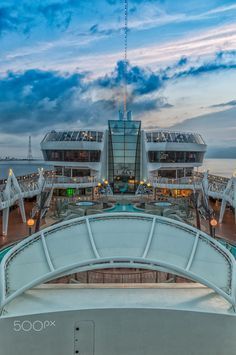 Pooldeck MSC Fantasia - MSC at Sea, on Pooldeck with blue cloud at morning