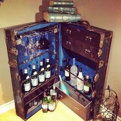 This is the old trunk I'm going to make into bar. Very similar to mine.   DIY - Steamer Trunk Bar | In The Mix