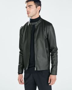 ZARA - MAN - FAUX LEATHER JACKET WITH PIPING