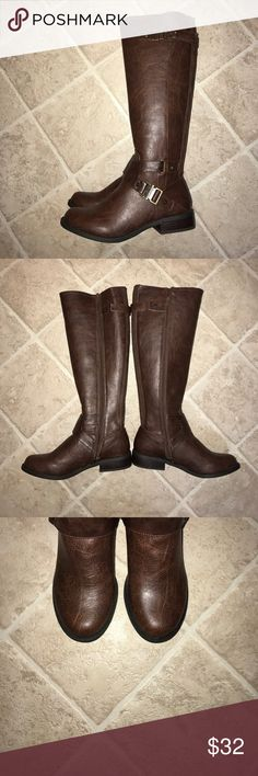 Riding boots G by guess hartsa brown riding boots, brand new never been worn, too long for my short legs:/ 6.5M G by Guess Shoes