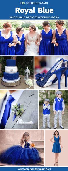 Dress Bridesmaid Short Blue Royal Ideas For 2019 Bridesmaid Dresses Long Blue, Royal Blue Bridesmaid Dresses, Royal Blue Dresses, Bridesmaid Colours, Beautiful Dresses, Nice Dresses, Girls Dresses, Flower Girl Dresses, Blue Wedding