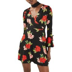 Women's Topshop Floral Flute Sleeve Skater Dress ($68) ❤ liked on Polyvore featuring dresses, black multi, skater dresses, floral mini dress, floral dresses, short dresses and long-sleeve skater dresses