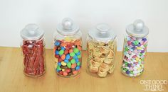 diy candy jars - great way to reuse glass jars. Super frugal and simple.