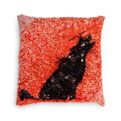 Evening Wolf | Decorative Cushion | A lone wolf, set in lace patchwork on taffeta and embellished with gems, stones and hand embroideries, ups the style quotient in any room. Wild Creatures, Lone Wolf, Decorative Cushions, Hand Embroidery, Safari, Stones, Gems, Lace, Room